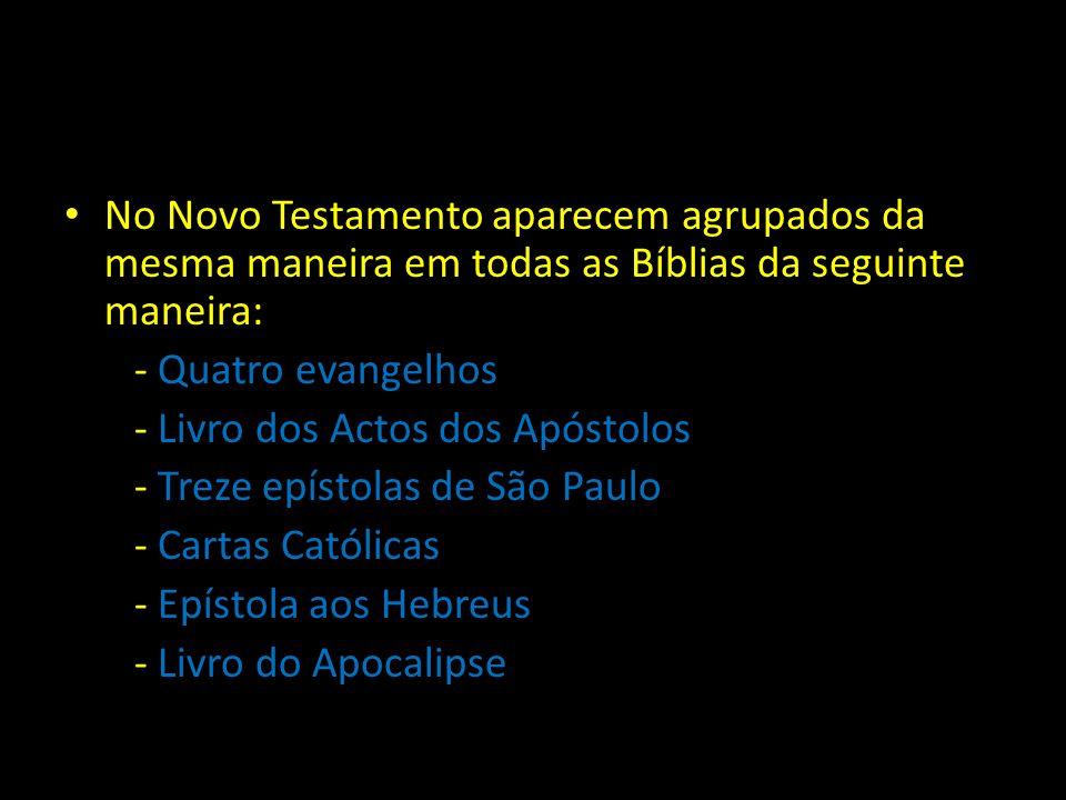 No Novo Testamento aparecem agrupados da mesma maneira em todas as Bíblias da seguinte maneira: