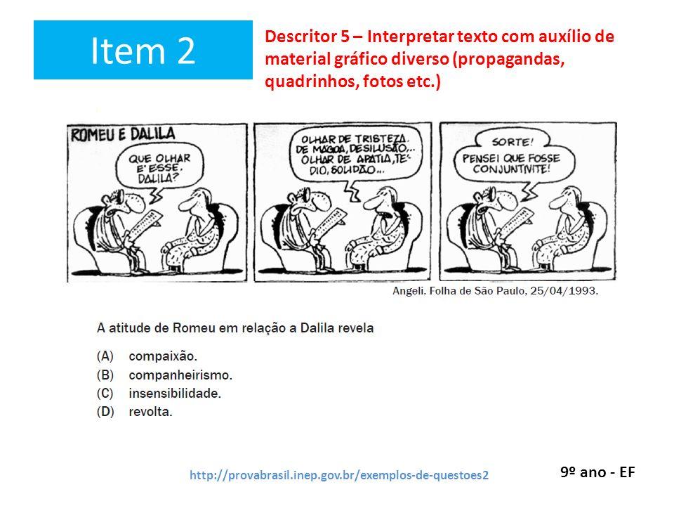 Item 2 Descritor 5 – Interpretar texto com auxílio de material gráfico diverso (propagandas, quadrinhos, fotos etc.)
