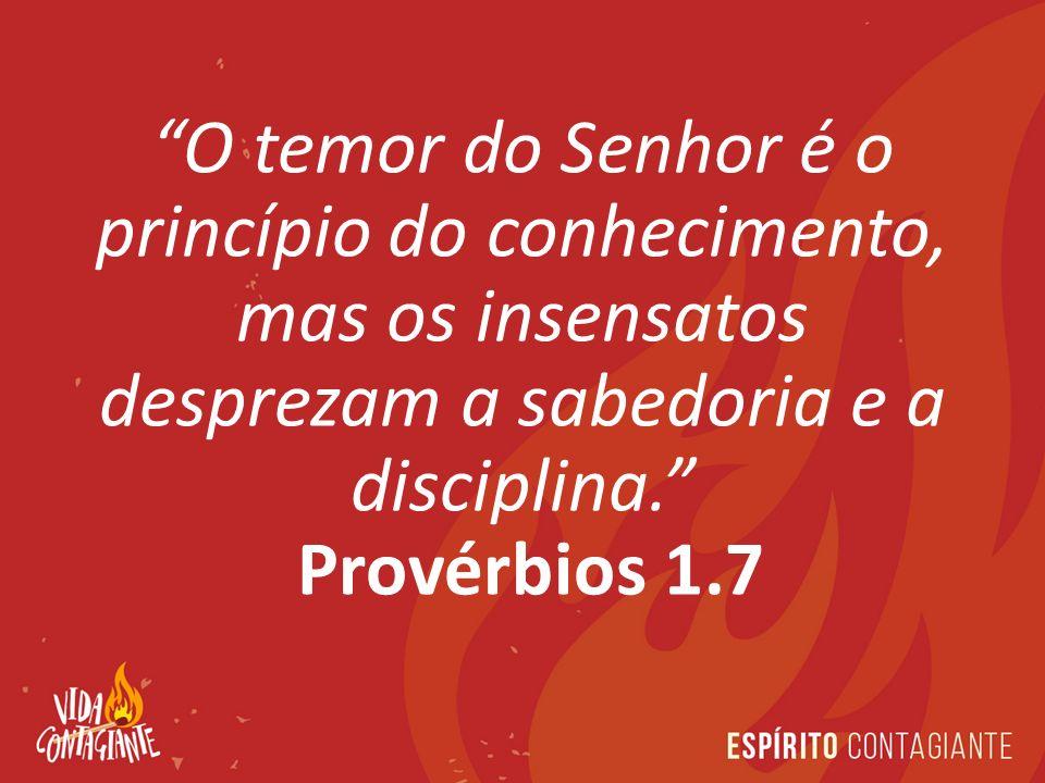 O temor do Senhor é o princípio do conhecimento, mas os insensatos desprezam a sabedoria e a disciplina. Provérbios 1.7