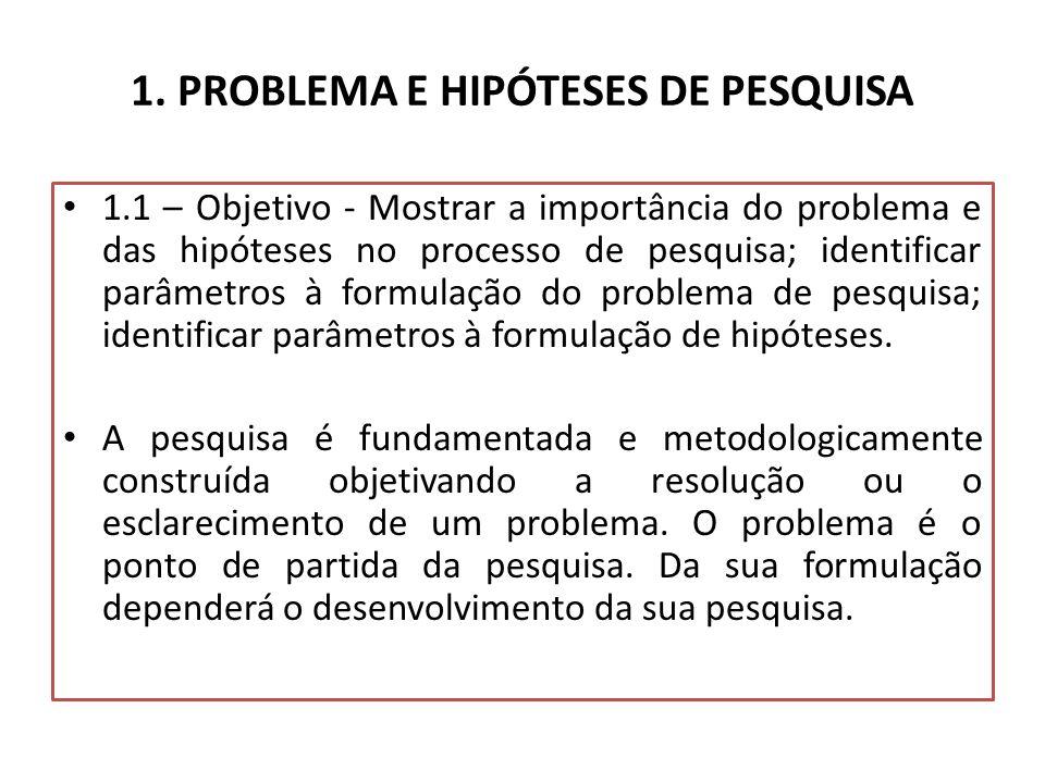1. PROBLEMA E HIPÓTESES DE PESQUISA
