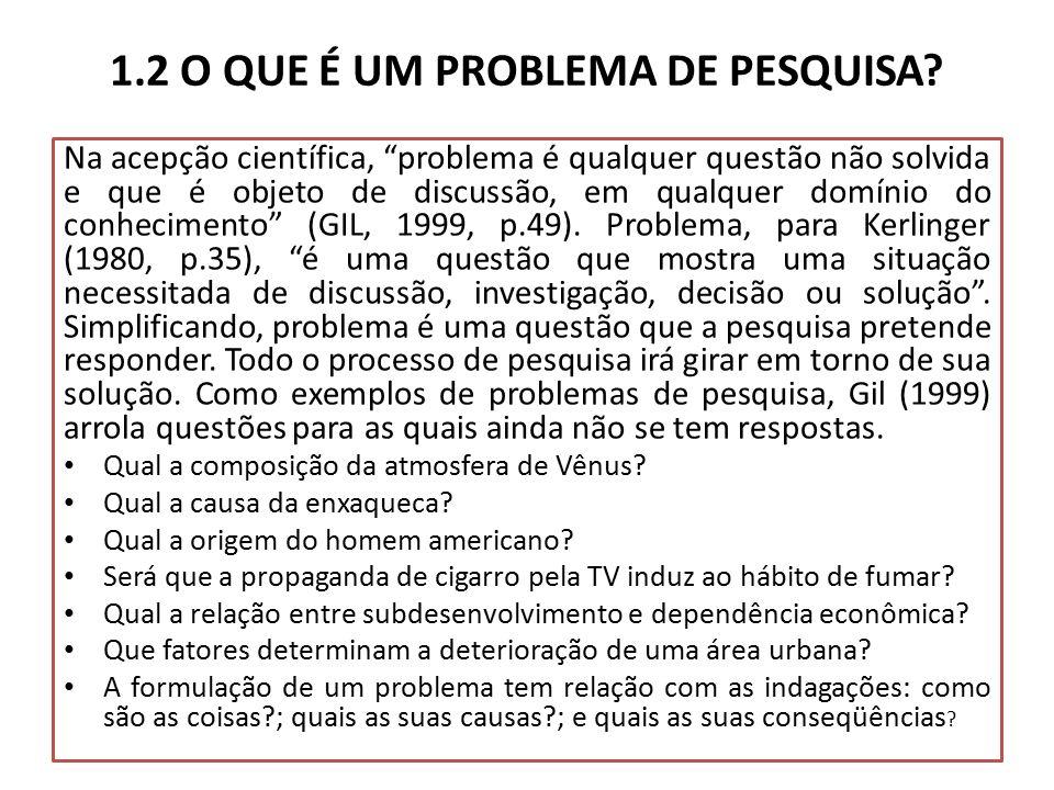 1.2 O QUE É UM PROBLEMA DE PESQUISA