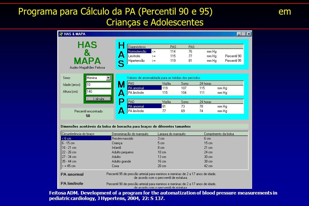 Programa para Cálculo da PA (Percentil 90 e 95) em Crianças e Adolescentes