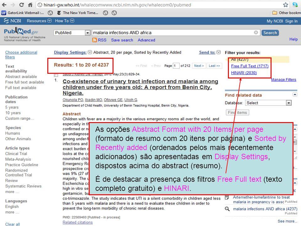 As opções Abstract Format with 20 Items per page (formato de resumo com 20 itens por página) e Sorted by Recently added (ordenados pelos mais recentemente adicionados) são apresentadas em Display Settings, dispostos acima do abstract (resumo).
