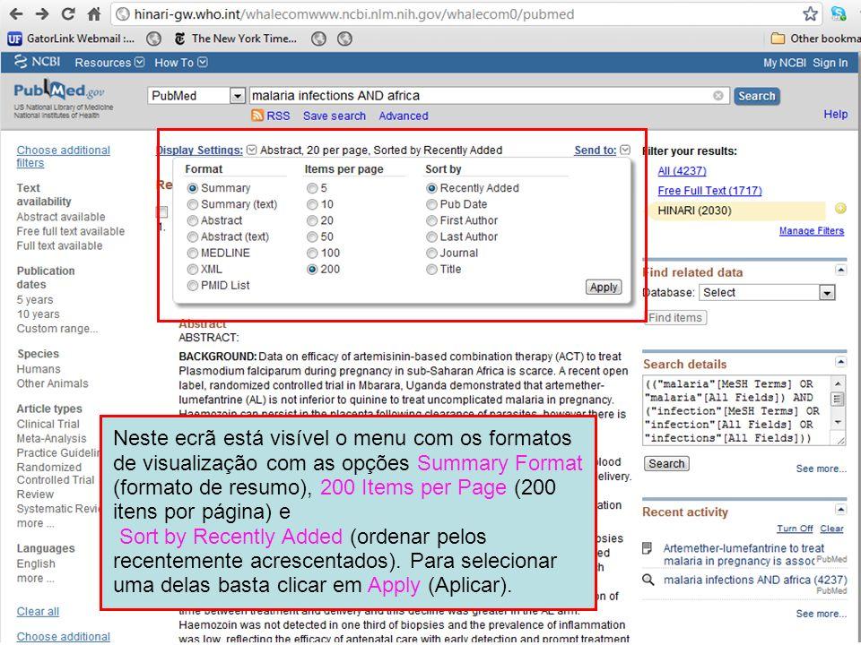 Neste ecrã está visível o menu com os formatos de visualização com as opções Summary Format (formato de resumo), 200 Items per Page (200 itens por página) e