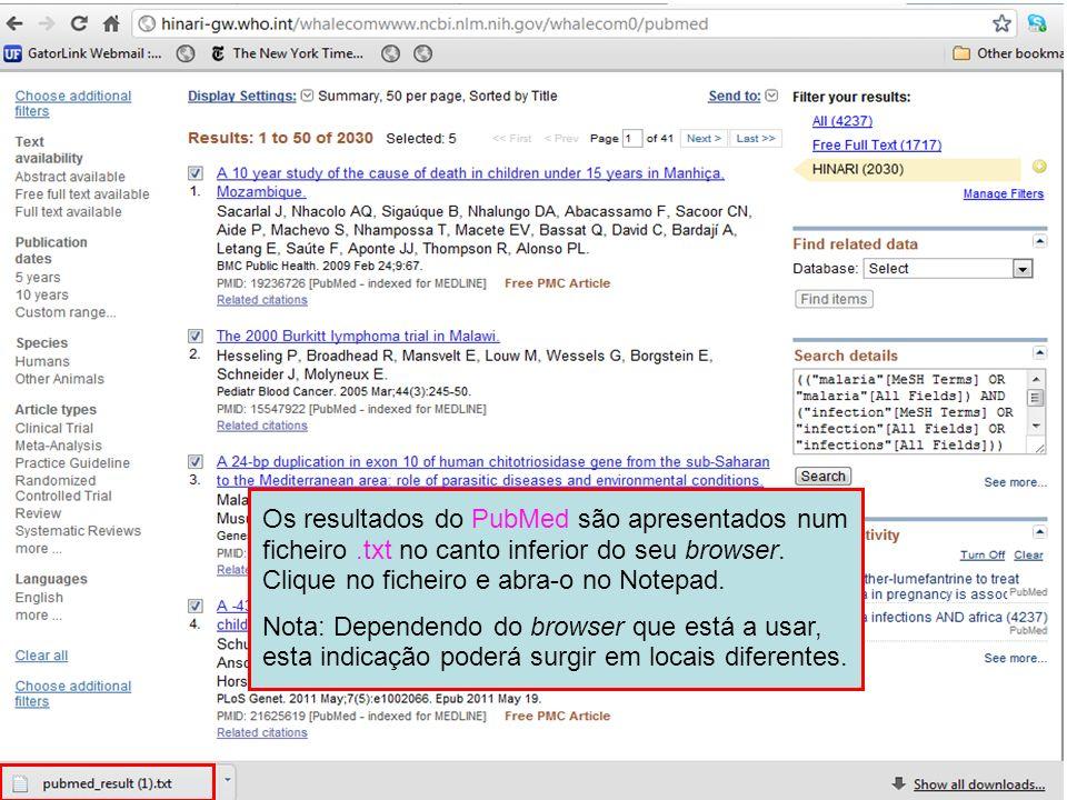 Os resultados do PubMed são apresentados num ficheiro
