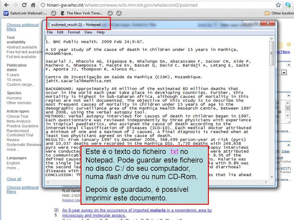 Este é o texto do ficheiro. txt no Notepad