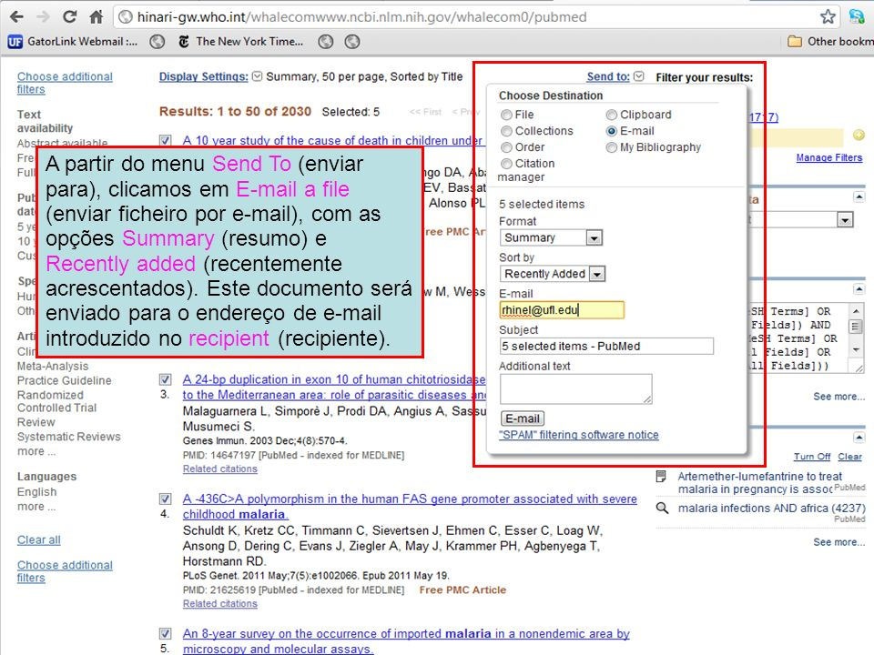 A partir do menu Send To (enviar para), clicamos em E-mail a file (enviar ficheiro por e-mail), com as opções Summary (resumo) e Recently added (recentemente acrescentados).