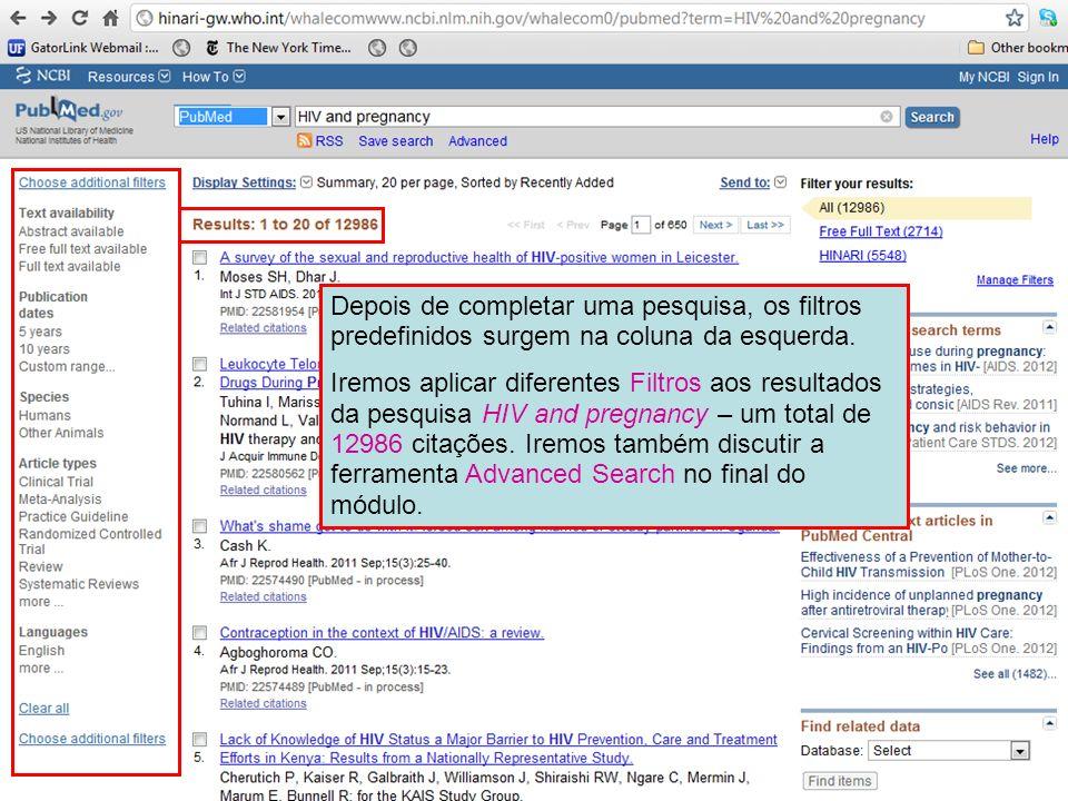 Depois de completar uma pesquisa, os filtros predefinidos surgem na coluna da esquerda.