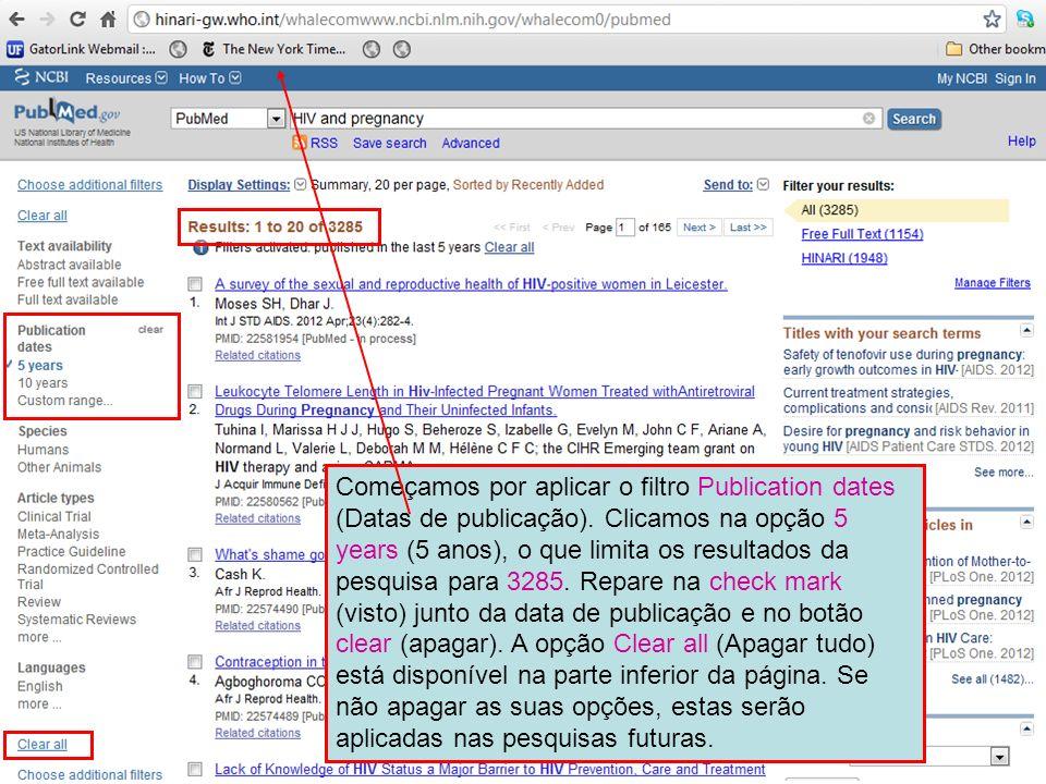 Começamos por aplicar o filtro Publication dates (Datas de publicação)