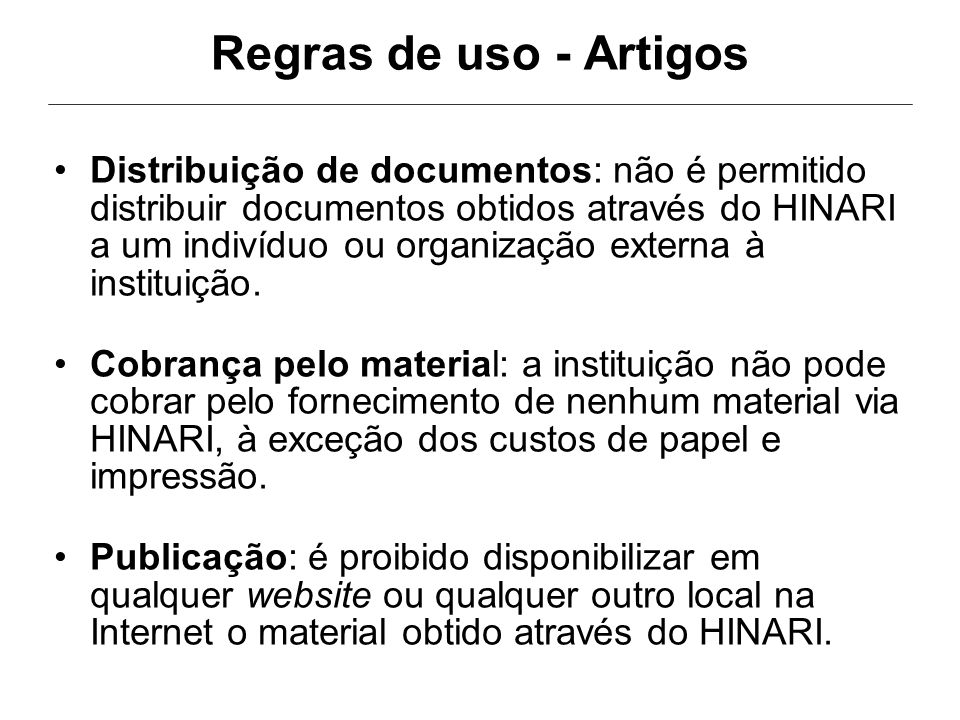 Regras de uso - Artigos