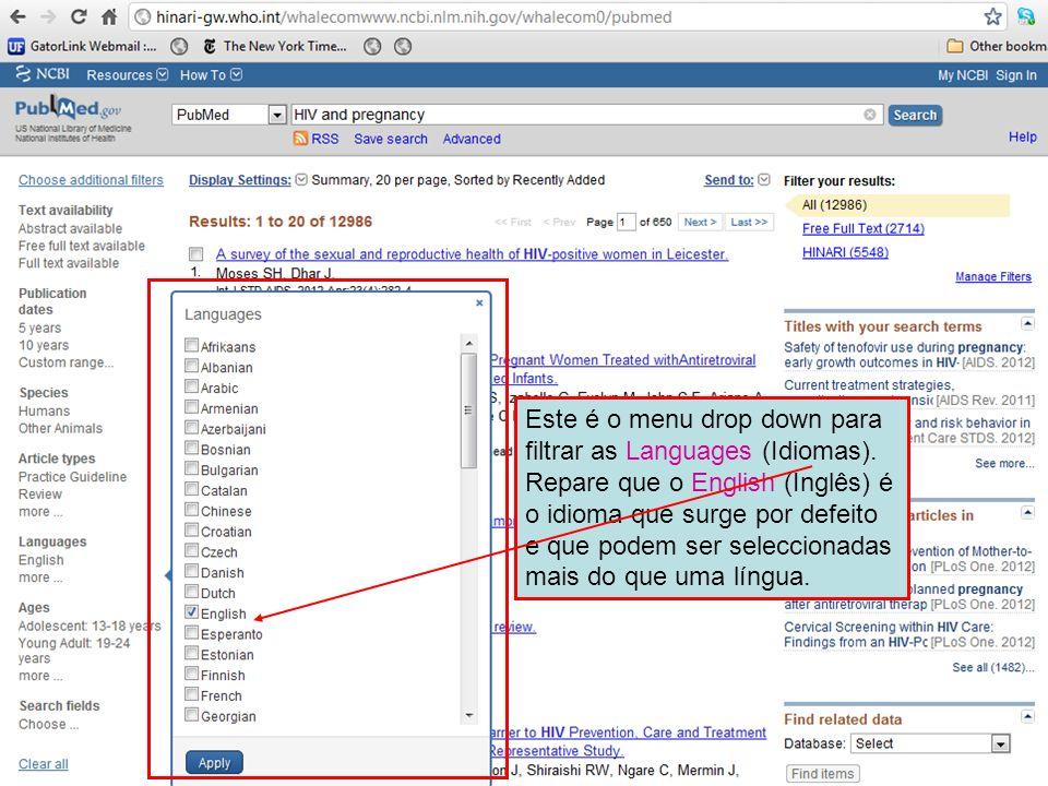 Este é o menu drop down para filtrar as Languages (Idiomas)