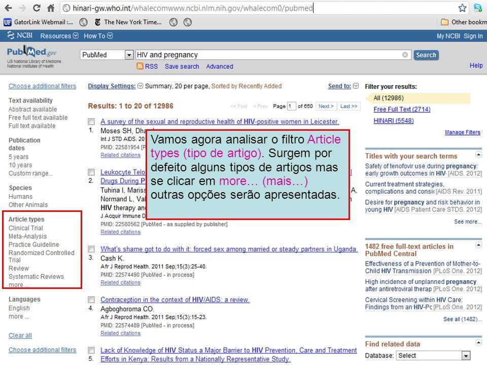 Vamos agora analisar o filtro Article types (tipo de artigo)