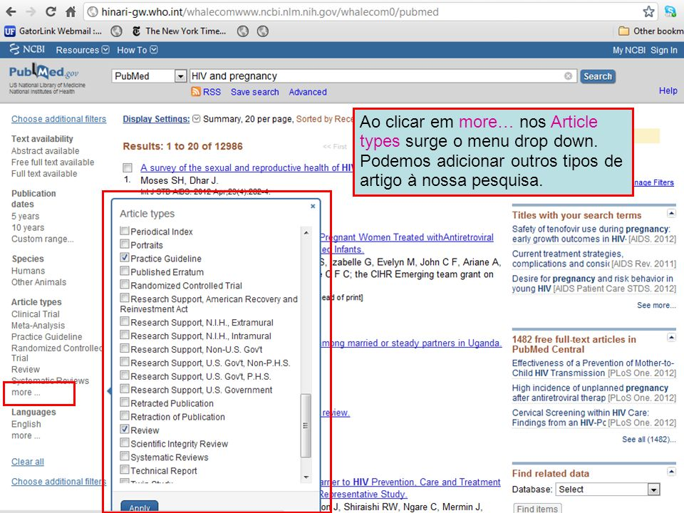 Ao clicar em more… nos Article types surge o menu drop down