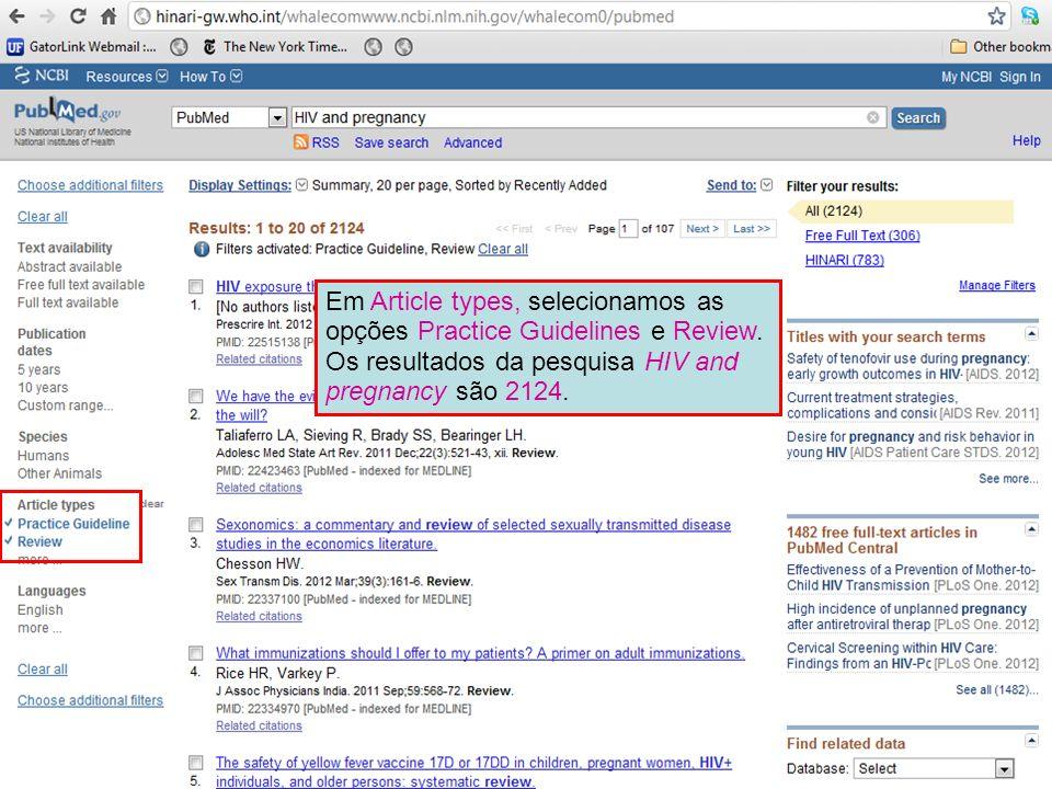 Em Article types, selecionamos as opções Practice Guidelines e Review