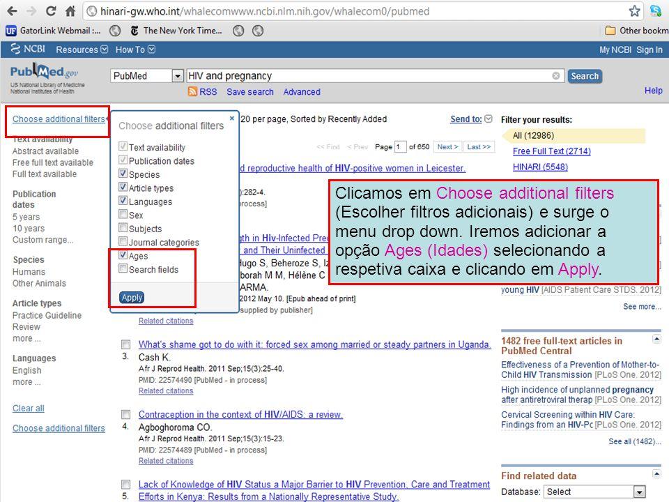 Clicamos em Choose additional filters (Escolher filtros adicionais) e surge o menu drop down.
