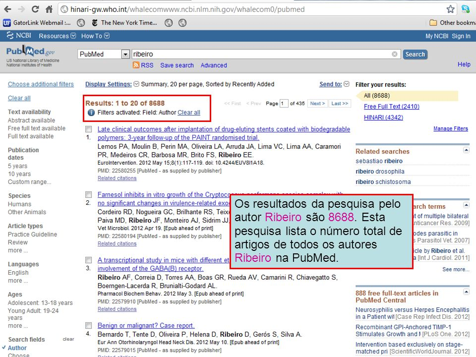 Os resultados da pesquisa pelo autor Ribeiro são 8688