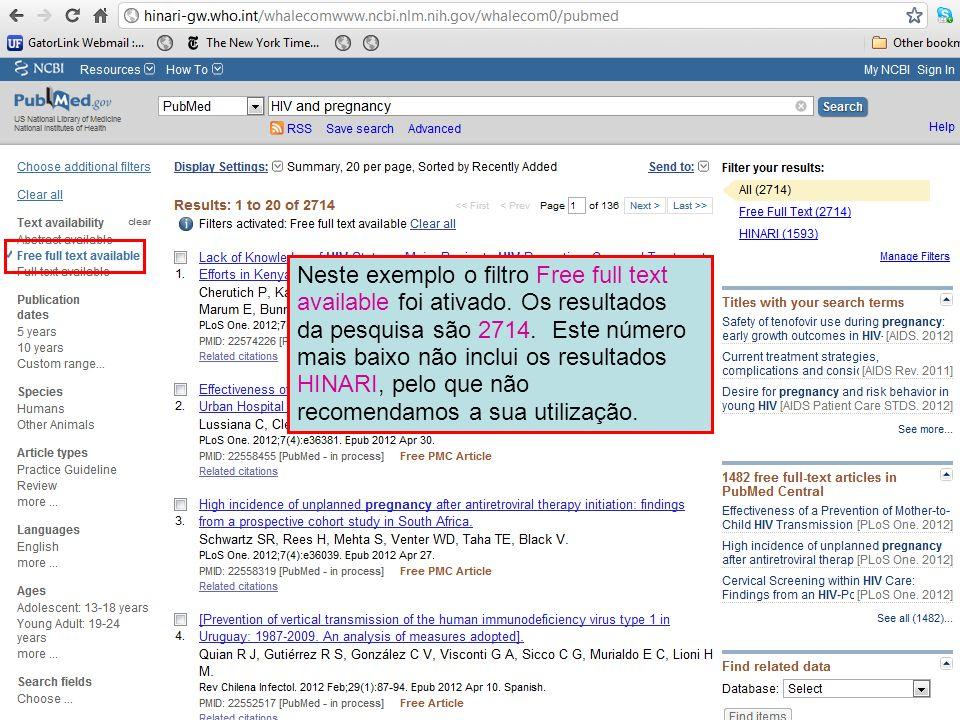 Neste exemplo o filtro Free full text available foi ativado