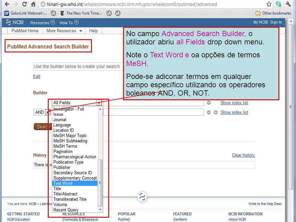 No campo Advanced Search Builder, o utilizador abriu all Fields drop down menu.