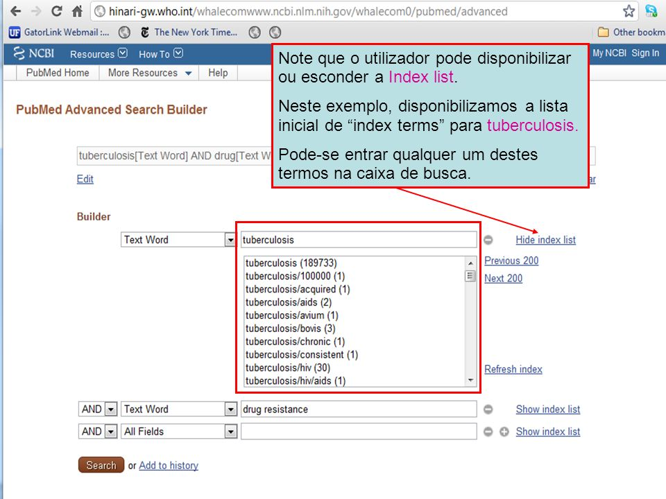 Note que o utilizador pode disponibilizar ou esconder a Index list.