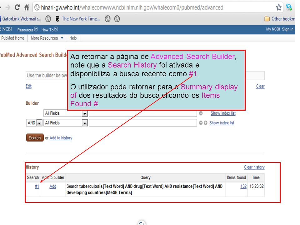 Ao retornar a página de Advanced Search Builder, note que a Search History foi ativada e disponibiliza a busca recente como #1.