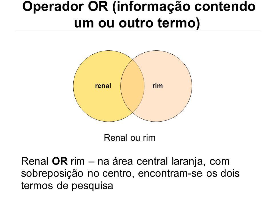 Operador OR (informação contendo um ou outro termo)