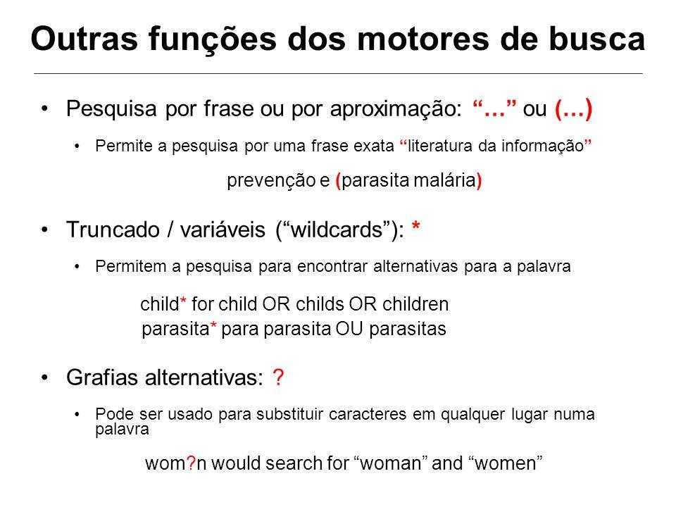 Outras funções dos motores de busca