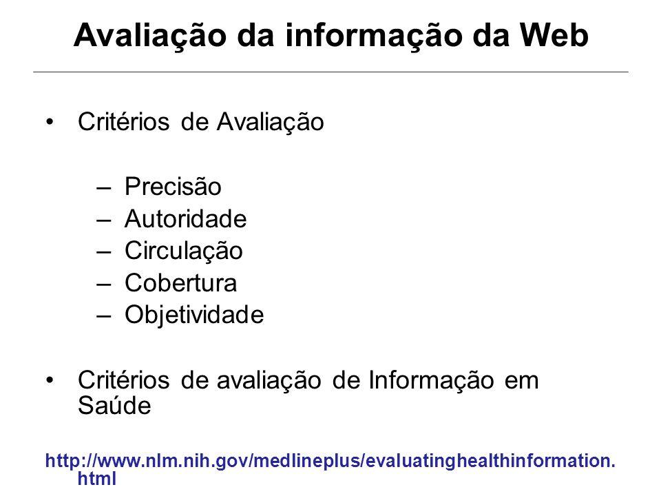 Avaliação da informação da Web
