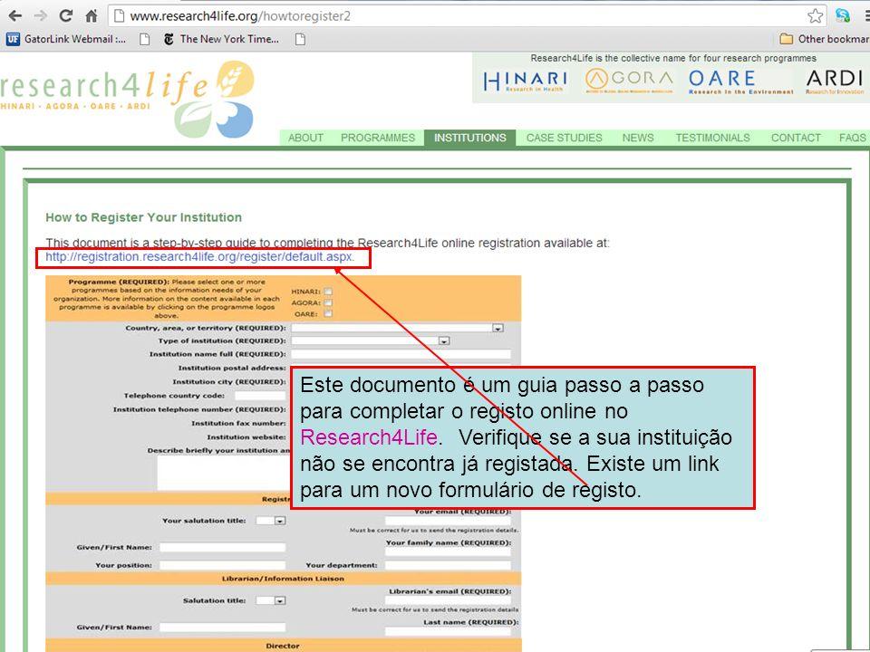 Este documento é um guia passo a passo para completar o registo online no Research4Life.
