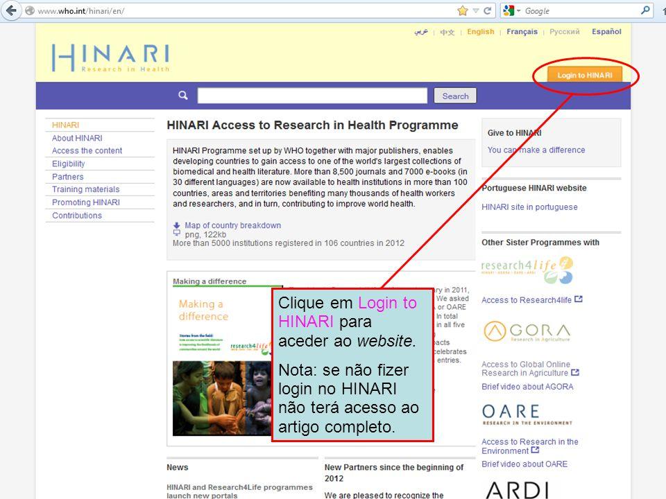 Clique em Login to HINARI para aceder ao website.