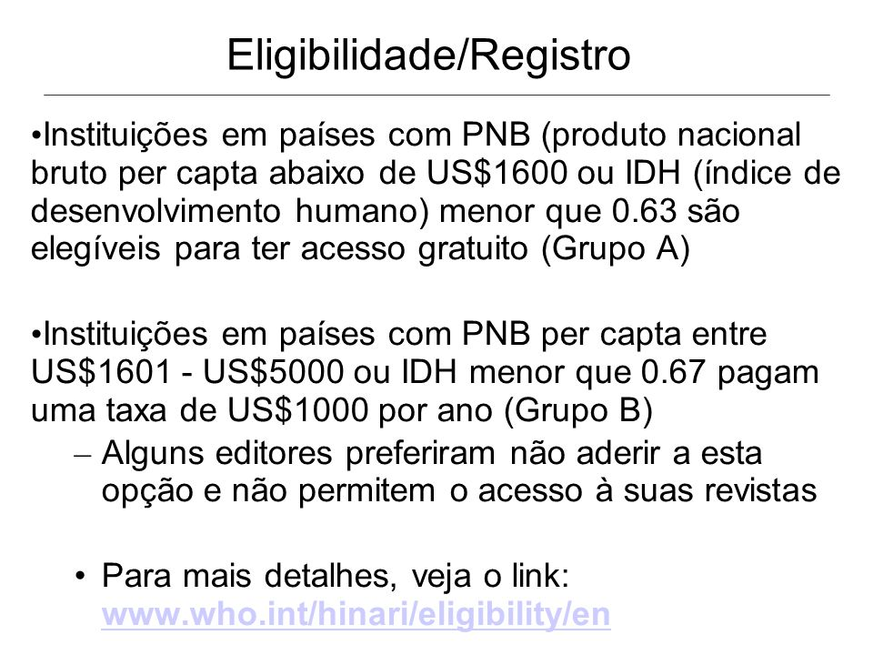 Eligibilidade/Registro