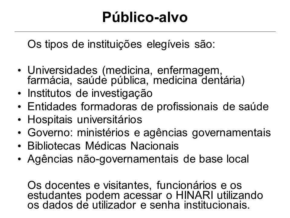 Público-alvo Os tipos de instituições elegíveis são: