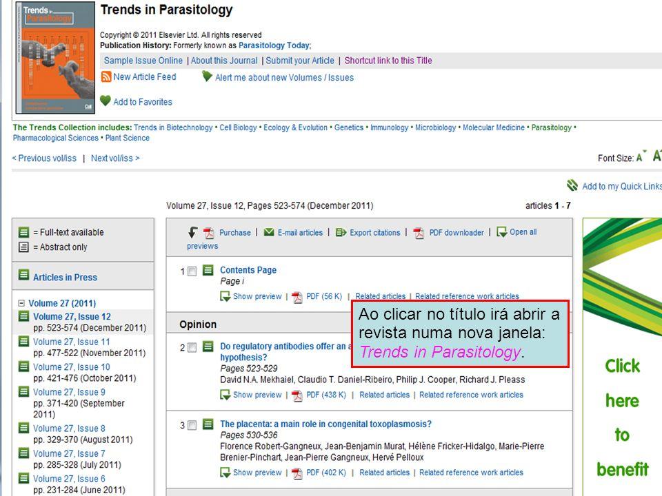 Ao clicar no título irá abrir a revista numa nova janela: Trends in Parasitology.