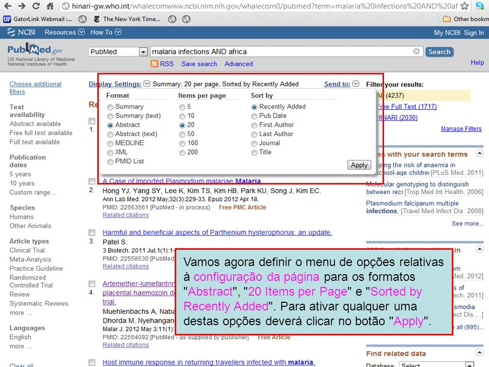 Vamos agora definir o menu de opções relativas à configuração da página para os formatos Abstract , 20 Items per Page e Sorted by Recently Added .