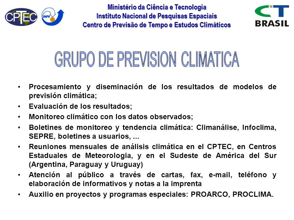 GRUPO DE PREVISION CLIMATICA