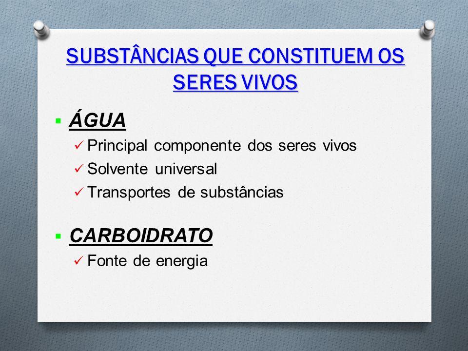 SUBSTÂNCIAS QUE CONSTITUEM OS SERES VIVOS