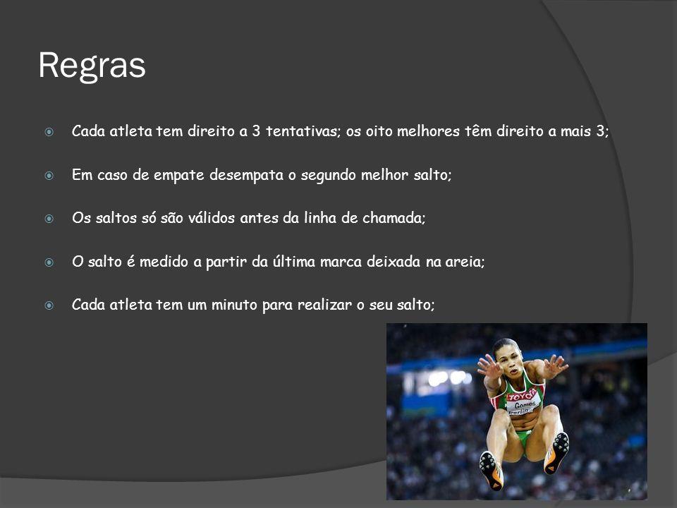Regras Cada atleta tem direito a 3 tentativas; os oito melhores têm direito a mais 3; Em caso de empate desempata o segundo melhor salto;