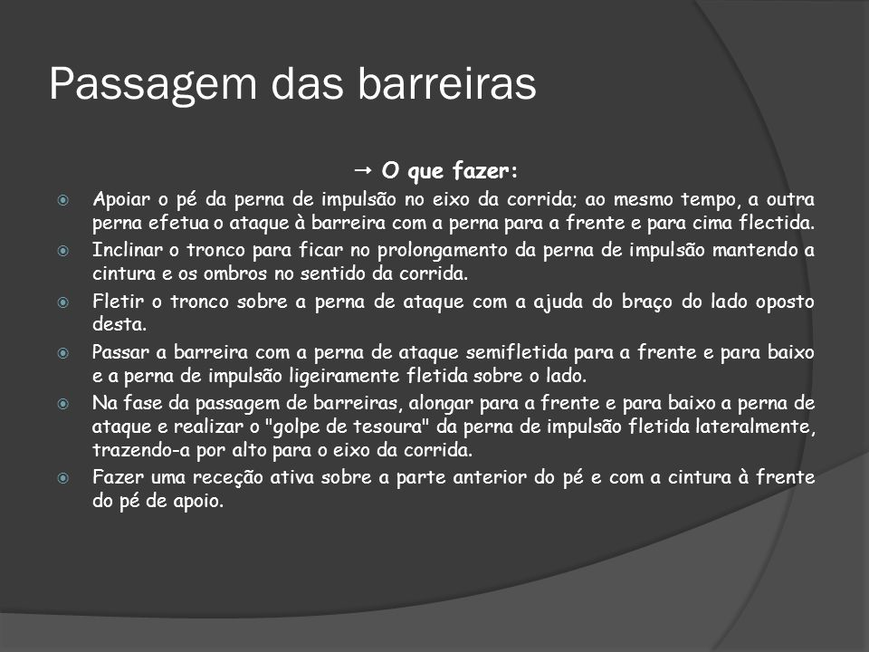Passagem das barreiras