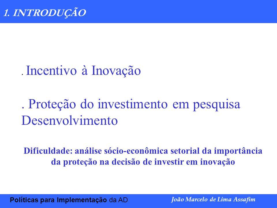. Proteção do investimento em pesquisa Desenvolvimento