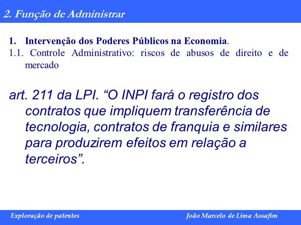 2. Função de Administrar Intervenção dos Poderes Públicos na Economia. 1.1. Controle Administrativo: riscos de abusos de direito e de mercado.