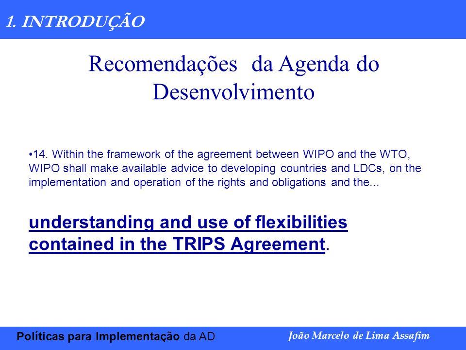 Recomendações da Agenda do Desenvolvimento
