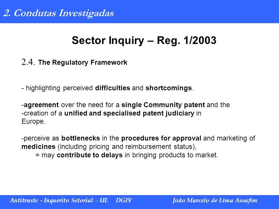 Sector Inquiry – Reg. 1/2003 2. Condutas Investigadas