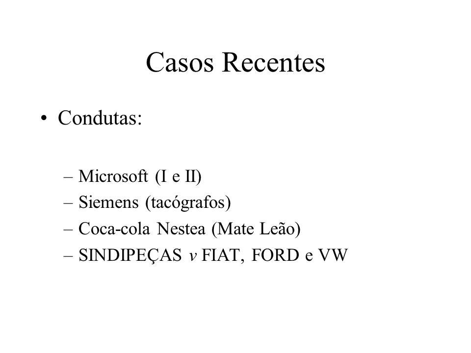 Casos Recentes Condutas: Microsoft (I e II) Siemens (tacógrafos)
