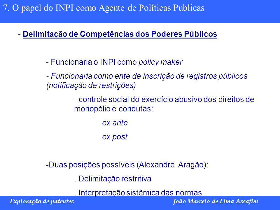 7. O papel do INPI como Agente de Políticas Publicas