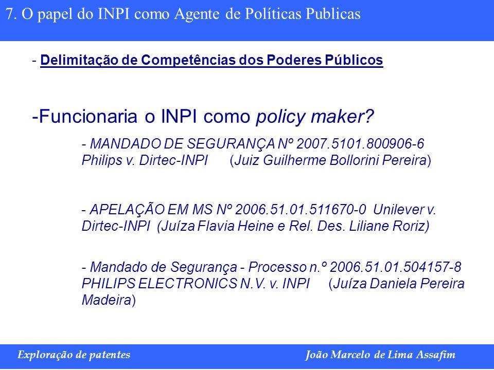 Funcionaria o INPI como policy maker