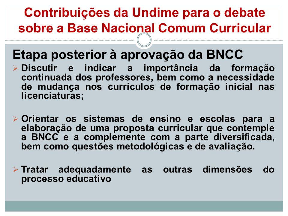 Etapa posterior à aprovação da BNCC