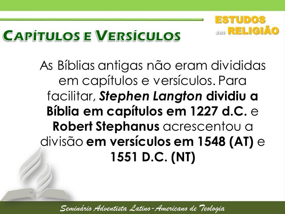 Capítulos e Versículos