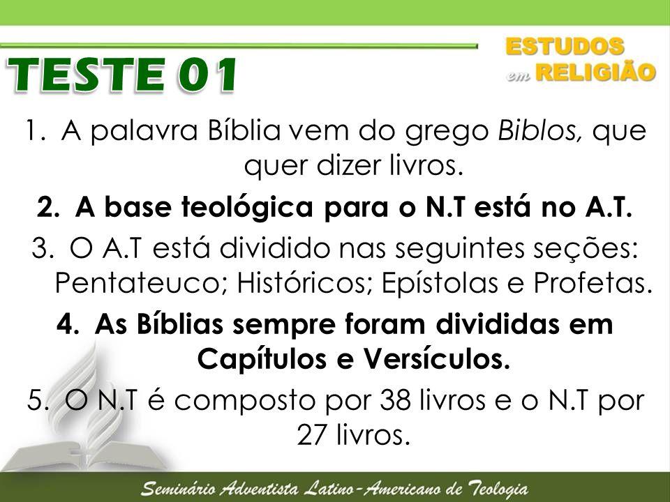 TESTE 01 A palavra Bíblia vem do grego Biblos, que quer dizer livros.