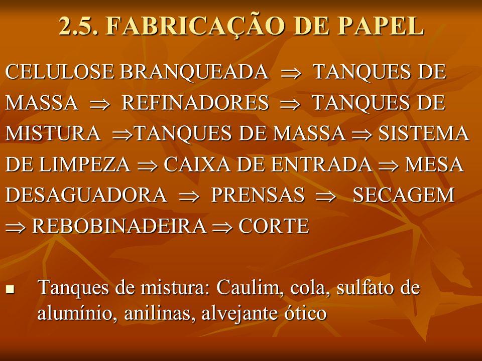 2.5. FABRICAÇÃO DE PAPEL CELULOSE BRANQUEADA  TANQUES DE