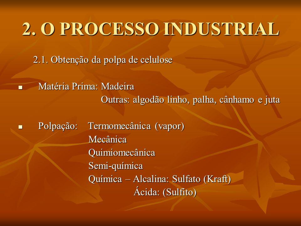 2. O PROCESSO INDUSTRIAL 2.1. Obtenção da polpa de celulose