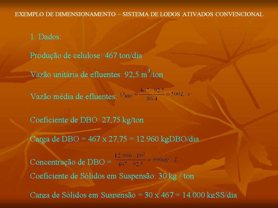 EXEMPLO DE DIMENSIONAMENTO – SISTEMA DE LODOS ATIVADOS CONVENCIONAL